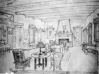 This sketch of the Beadel Room was drawn by Henry Beadel in 1923.