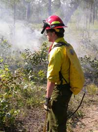 Intern Daniel Godwin conducting an experimental prescribed burn.