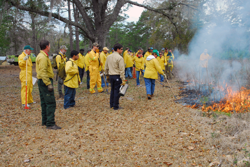 NRCS Course members learn about prescribed fire tools