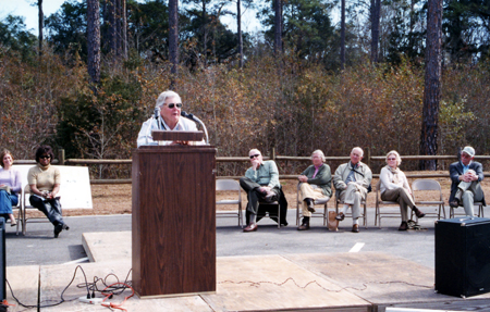 Miss Kate speaking at the Kate Ireland Park Dedication