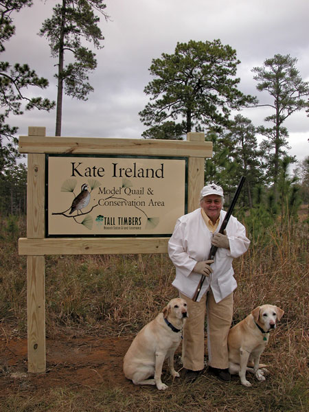 Miss Kate at Model Quail Course entrance sign
