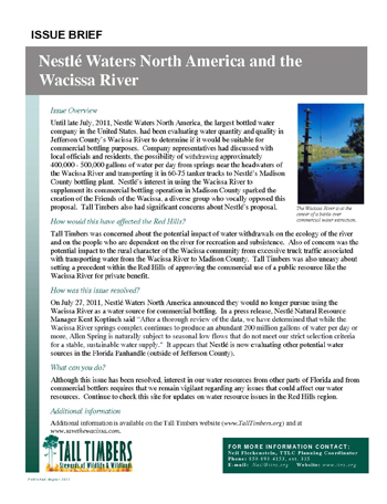 Issue Brief on Nestle Waters and the Wacissa River