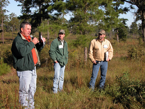 Jim Davis, with Bill Palmer and Clay Sisson, discusses quail management at Okapilco Plantation