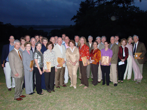 Members of some of the 29 families who donated conservation easements to Tall Timbers saving nearly 33,000 acres of land are honored at the Red Hills Spring Dinner.