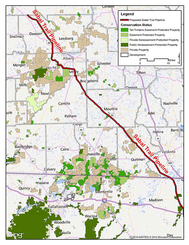 Approximate route of proposed Sabal Trail Pipeline (pipeline not to scale)