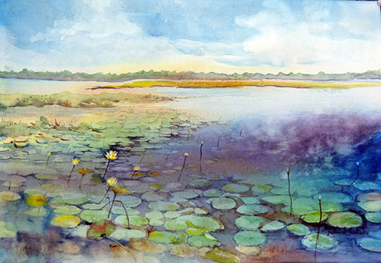 Lake iamonia watercolor by Yosiko Murdick