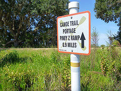 Piney Z sign for canoe trail and ramp