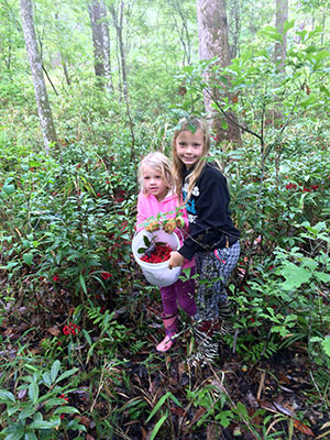 Kids collect berries