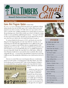 Quail Call newsletter front page