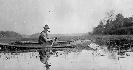 "Gerald W. Beadel rowing in a ""tin boat"" on Lake Iamonia, was Henry Beadel's younger brother. Bequests from both Henry and Gerald established the Beadel Fellowships."
