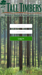 Invasive Tracker Login Screen