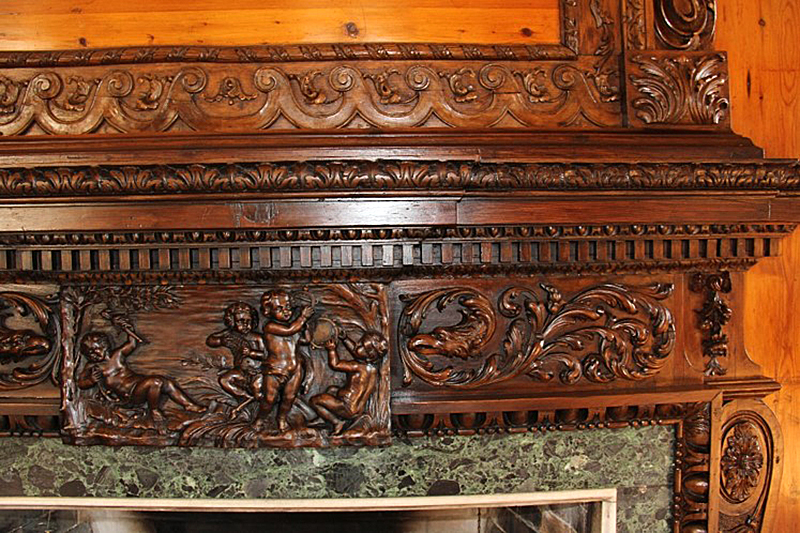 IFACS conservators thoroughly cleaned and restored detailed wooden trim, including fireplace mantles.