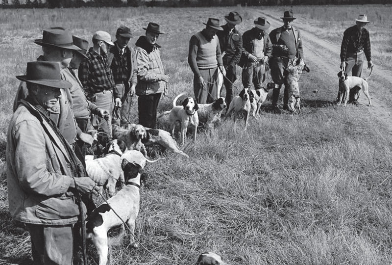 Dog handlers with the pointers they handled